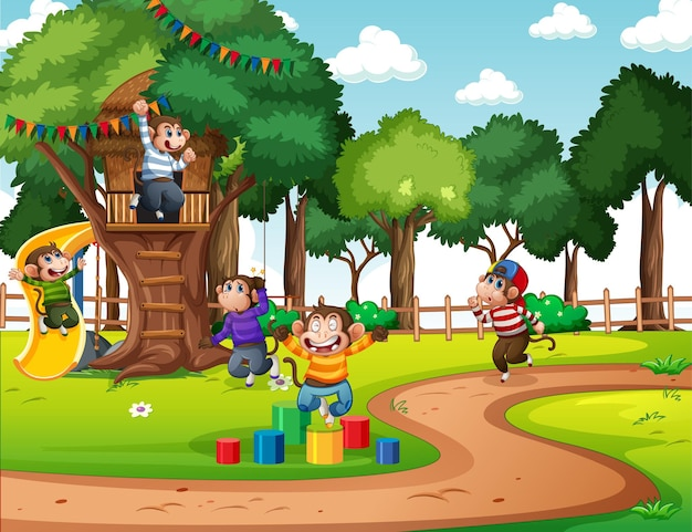 Scena na placu zabaw z wieloma małymi małpkami