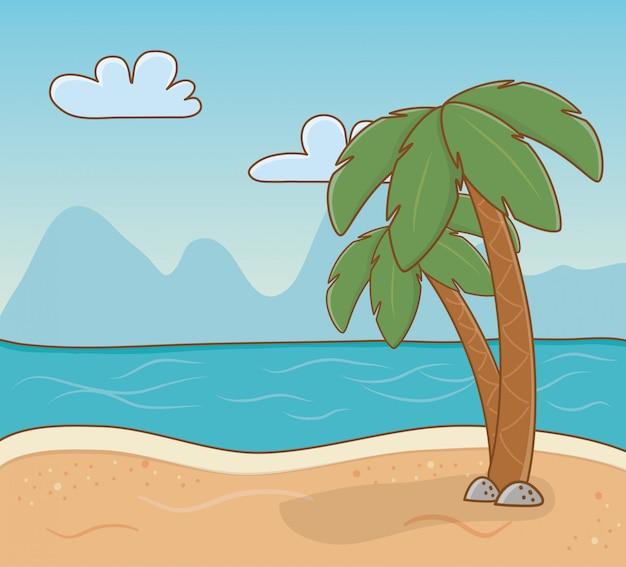 Scena na plaży palmy