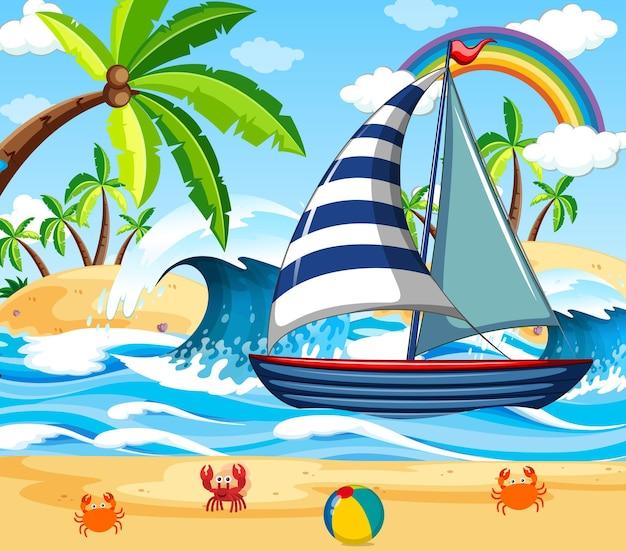Scena na plaży z żaglówką