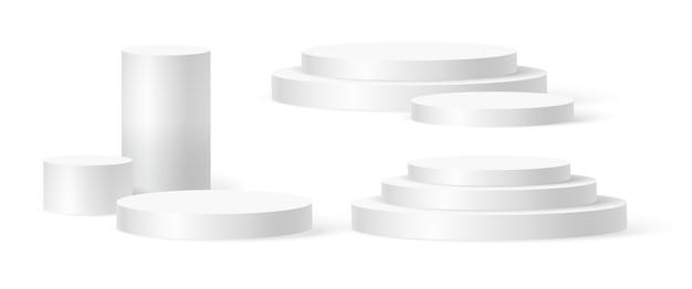 Scena na podium z cylindrem, cokół zwycięzcy. biały cylinder szablon dla sceny podium w salonie.