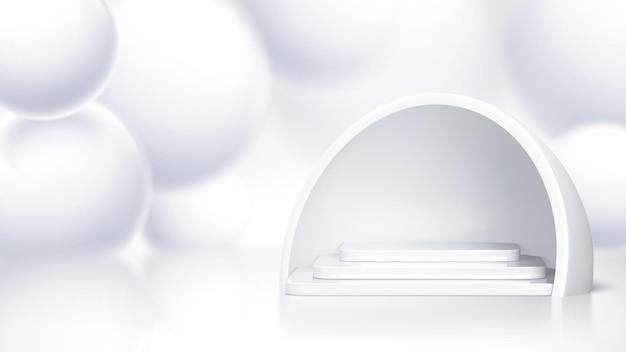 Scena na podium z trójwymiarowym wzorem baniek mydlanych