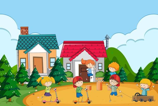 Scena na świeżym powietrzu w parku z wieloma dziećmi