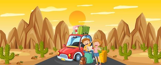 Scena na świeżym powietrzu z parą podróżującą w scenie pustyni