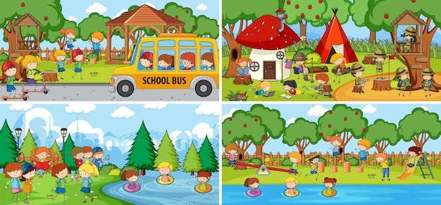 Scena Na świeżym Powietrzu Z Wieloma Dziećmi Doodle Postać Z Kreskówek Darmowych Wektorów