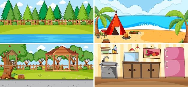 Scena na świeżym powietrzu z wieloma dziećmi doodle postać z kreskówki
