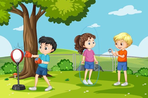 Scena na świeżym powietrzu z wieloma dziećmi wykonującymi różne czynności