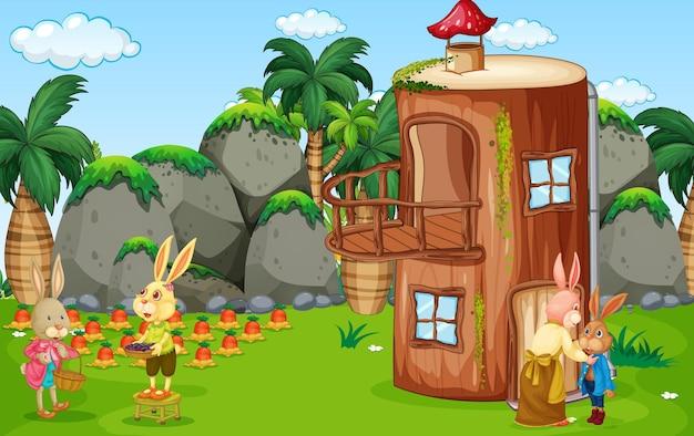 Scena na świeżym powietrzu z wieloma postaciami z kreskówek królików w ogrodzie