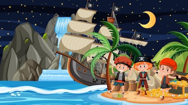 Scena na wyspie skarbów w nocy z pirackimi dziećmi