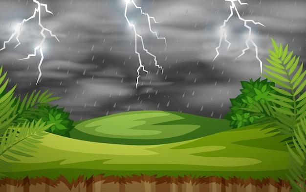 Scena natury burzy z piorunami