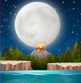 Scena natury wulkanu nightime