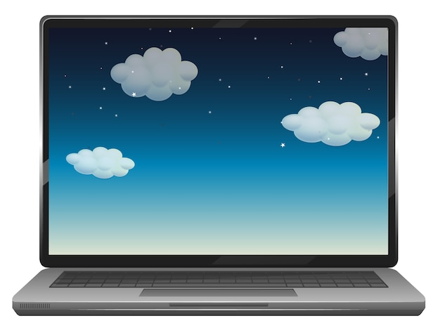 Scena nieba na pulpicie laptopa