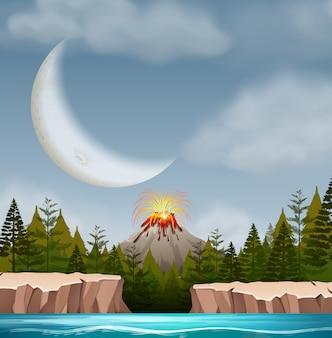 Scena nocna erupcji wulkanu