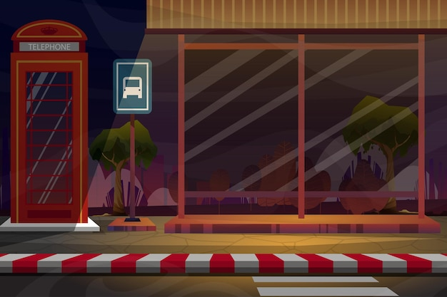 Scena nocna z budką telefoniczną w pobliżu przystanku autobusowego przy bocznej drodze, drzewo w parku przyrody