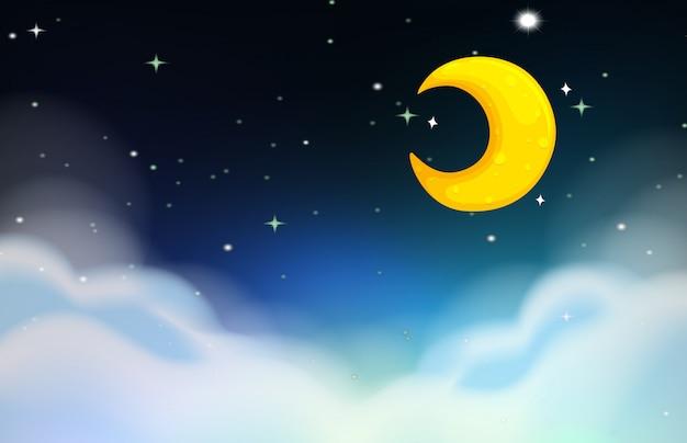 Scena nocna z księżycem i gwiazdami