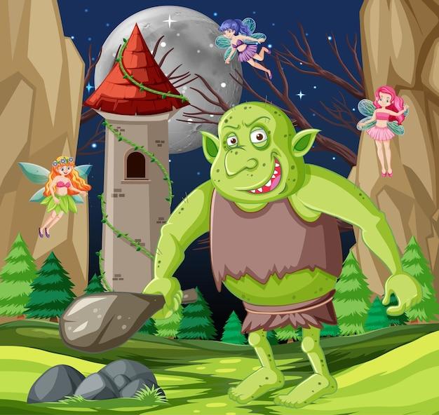 Scena nocna z postacią z kreskówki goblina lub trolla
