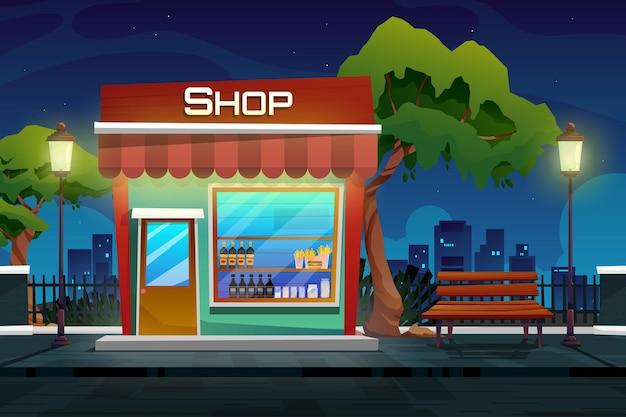 Scena nocna ze sklepem z napojami w parku miejskim z kreskówkowym pejzażem na zewnątrz
