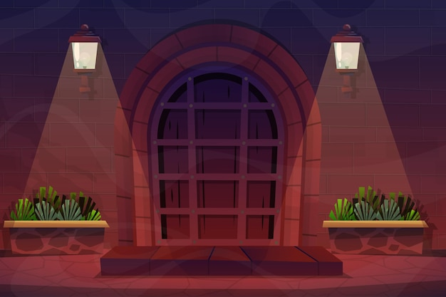 Scena nocna, zewnętrzna fasada domu z przednimi drewnianymi drzwiami ceglanego domu i lampą na ścianie, roślina doniczkowa w płaskim stylu