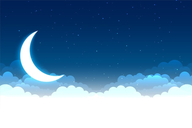 Scena nocnego nieba z chmurami, księżycem i gwiazdami