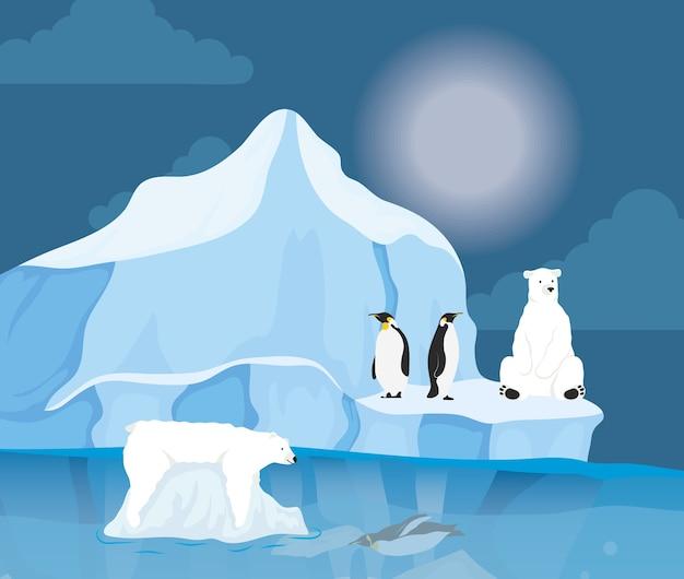 Scena nocy arktycznej z blokiem góry lodowej z pingwinami i niedźwiedziem polarnym