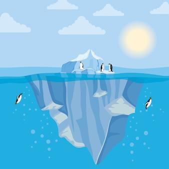 Scena nocy arktycznej z blokiem góry lodowej z pływającymi pingwinami