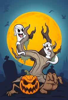 Scena nocy halloween z duchami i dynią