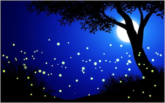 Scena nocy pełna świetlików w świetle księżyca