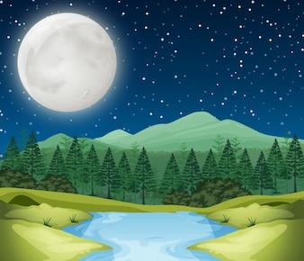 Scena nocy rzeki