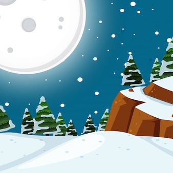 Scena nocy śniegu