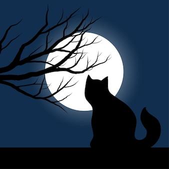 Scena nocy z kotem, księżycem i drzewami w sylwetce