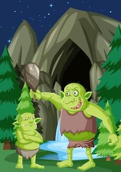 Scena nocy z postacią z kreskówki goblin lub troll