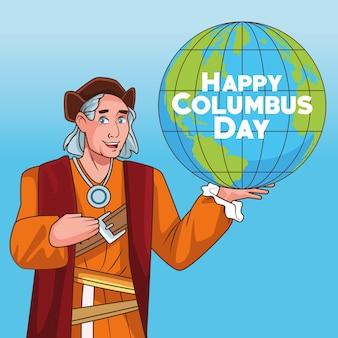 Scena obchodów dnia kolumba christophera podnoszenia globu ziemi.
