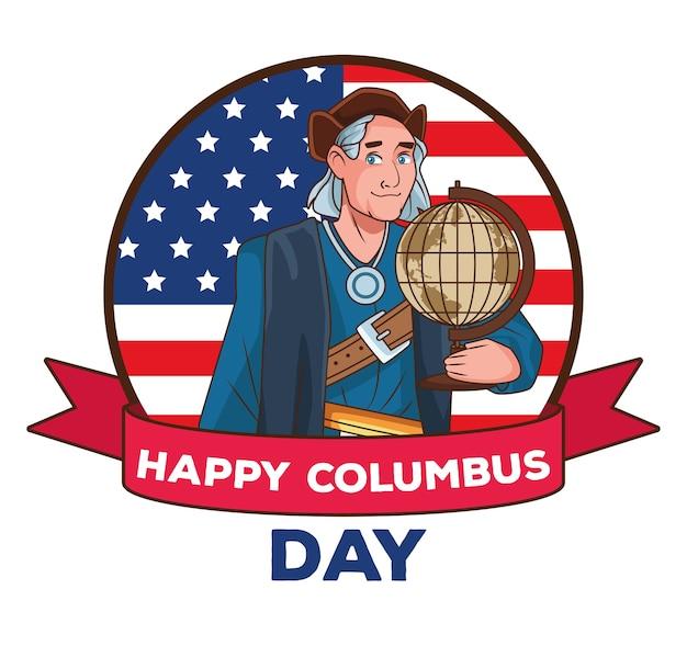 Scena obchodów dnia kolumba przedstawiająca christophera podnoszącego mapę świata i flagę usa.