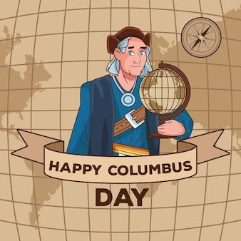Scena obchodów dnia kolumba przedstawiająca christophera podnoszącego ramkę wstążki mapy świata.