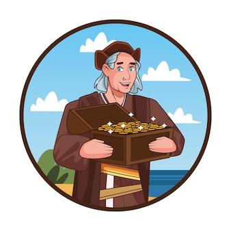 Scena obchodów dnia kolumba przedstawiająca krzysztofa podnoszącego skarb.