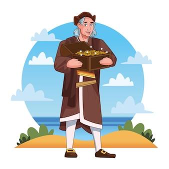 Scena obchodów dnia kolumba przedstawiająca krzysztofa podnoszącego skrzynię skarbów.