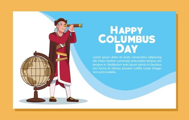 Scena obchodów dnia kolumba przedstawiająca krzysztofa za pomocą teleskopu i mapy.