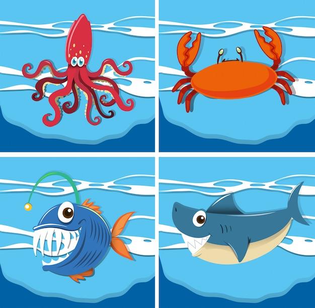 Scena oceanu z podwodnymi zwierzętami morskimi