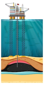Scena odwiertów naftowych na morzu