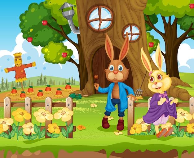 Scena ogrodowa z postacią z kreskówki rodziny królików
