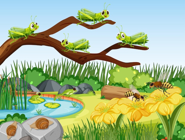 Scena ogrodowa z wieloma konikami polnymi, ślimakami i pszczołami
