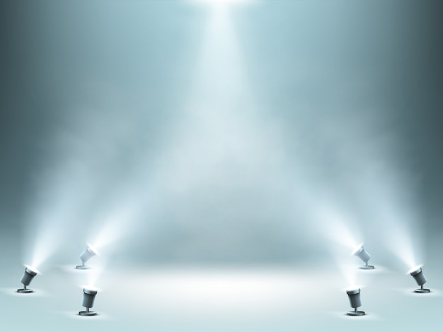 Scena oświetlona reflektorami z efektem dymu