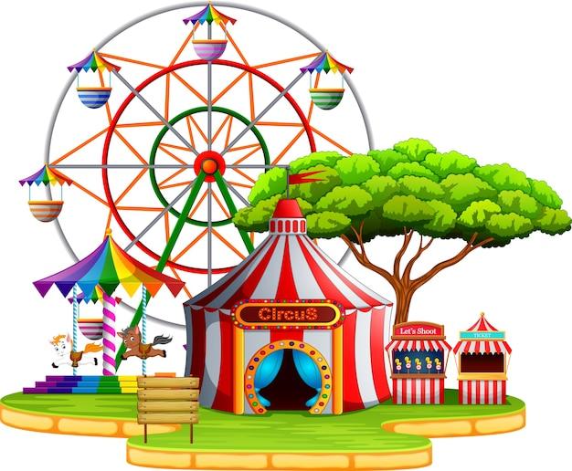 Scena park rozrywki w ciągu dnia