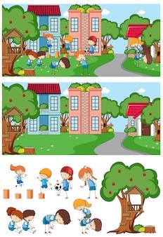 Scena parkowa z wieloma dziećmi doodle kreskówka na białym tle