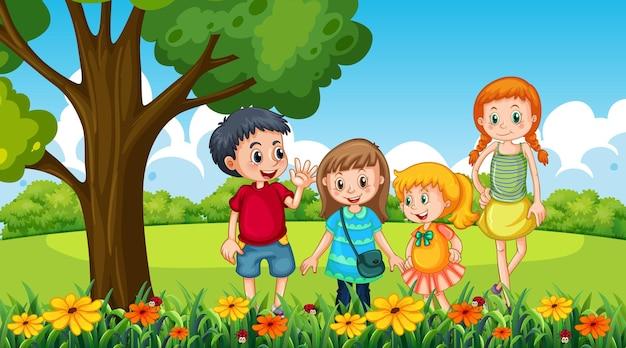 Scena parkowa z wieloma dziećmi w ogrodzie