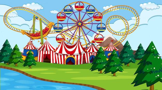 Scena parku rozrywki lub tło z rzeką