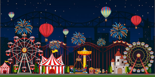 Scena parku rozrywki w nocy z balonami i fajerwerkami