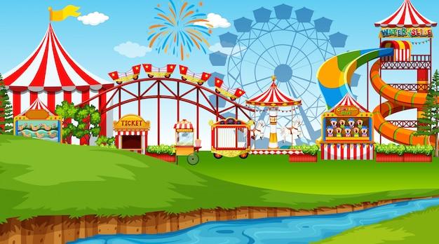 Scena parku rozrywki