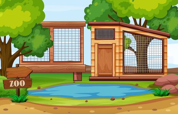 Scena parku zoo z pustymi klatkami