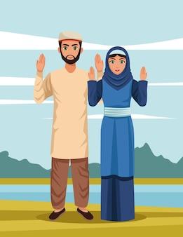 Scena pary muzułmańskiej