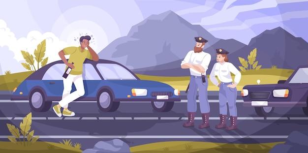Scena patrolu policji drogowej z płaską ilustracją pijanego kierowcy